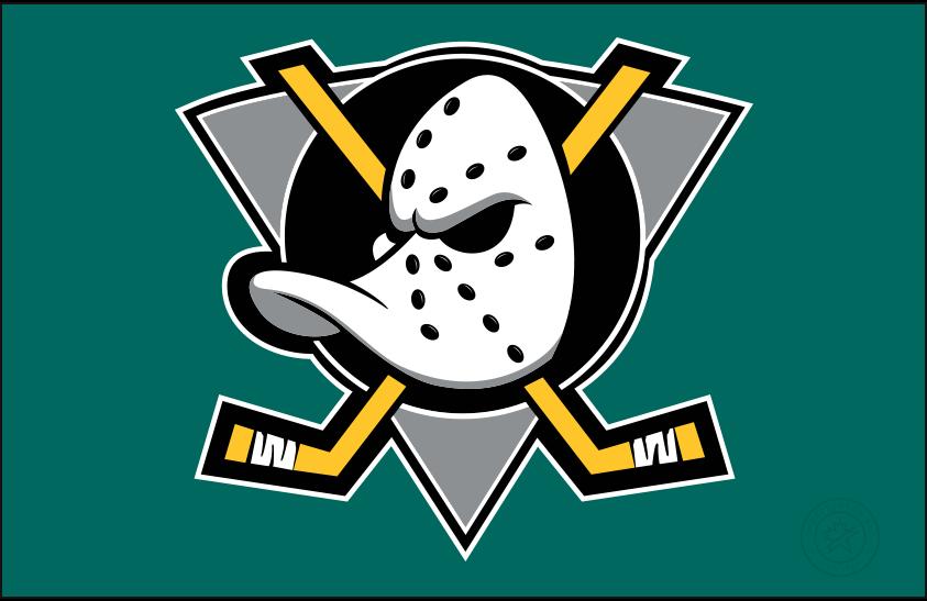 Mighty Ducks of Anaheim Logo Jersey Logo (1997/98-1998/99) - Mighty Ducks primary logo on green, worn on the Mighty Ducks of Anaheim green alternate jersey in 1997-98 and 1998-99 SportsLogos.Net