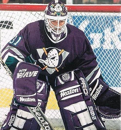 Guy Hebert Mighty Ducks of Anaheim Road Uniform 1993-1994