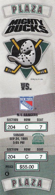 Mighty Ducks of Anaheim Ticket Stub Ticket Stub (1995/96) - Ticket stub from Mighty Ducks pre-season game against the New York Rangers on September 24, 1995 SportsLogos.Net