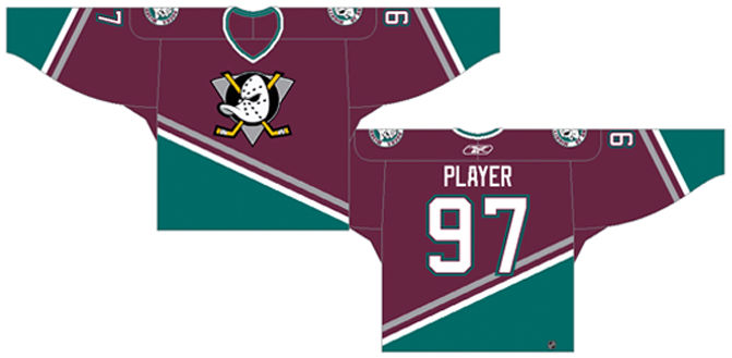 Mighty Ducks of Anaheim Uniform Dark Uniform (1995/96-2005/06) - Road jersey (1995/96 - 2002/03), Home Jersey (2003/04 - 2005/06). Eggplant uniform with a green diagonal stripe. Shoulder patch added for 1995/96 season SportsLogos.Net