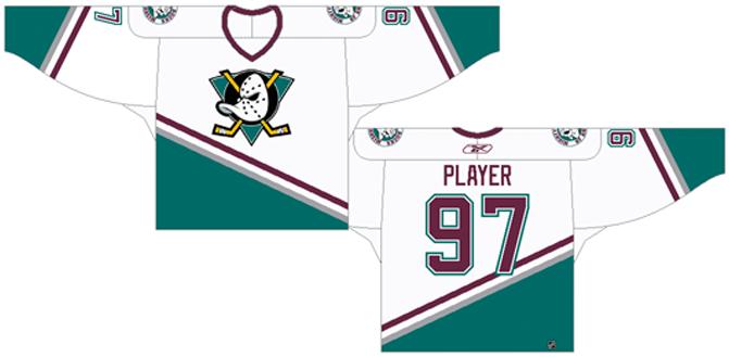 Mighty Ducks of Anaheim Uniform Light Uniform (1995/96-2005/06) - Home uniform (1995/96 - 2002/03), Road Uniform (2003/04 - 2005/06). White uniform with a green diagonal stripe, shoulder patch added for 1995/96. SportsLogos.Net