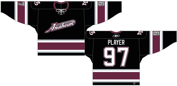 Mighty Ducks of Anaheim Uniform Alternate Uniform (2003/04-2005/06) - Black uniform with purple and silver stripes SportsLogos.Net