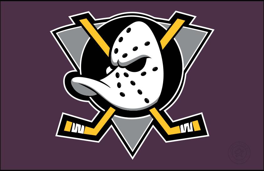 Mighty Ducks of Anaheim Logo Jersey Logo (1993/94-1998/99) - Duck goalie mask on grey triangle on eggplant, worn on the Mighty Ducks of Anaheim road jersey SportsLogos.Net