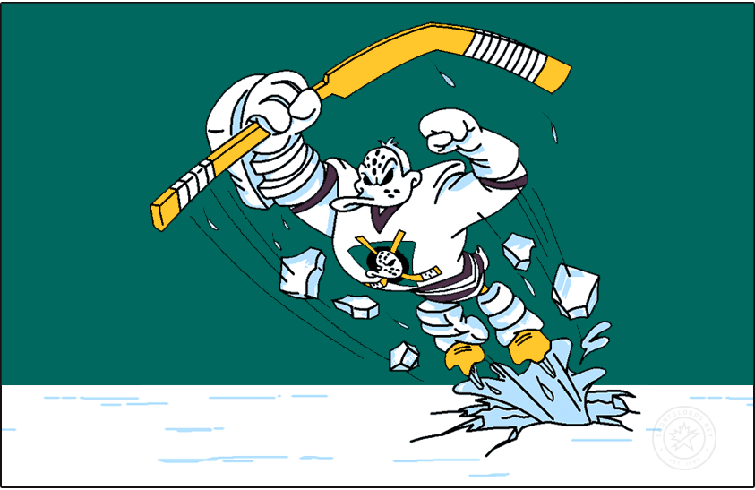 Mighty Ducks of Anaheim Logo Jersey Logo (1995/96) - 'Wild Wing' the Ducks mascot bursting through the ice on a green background, worn on the chest of the Mighty Ducks of Anaheim alternate jersey SportsLogos.Net