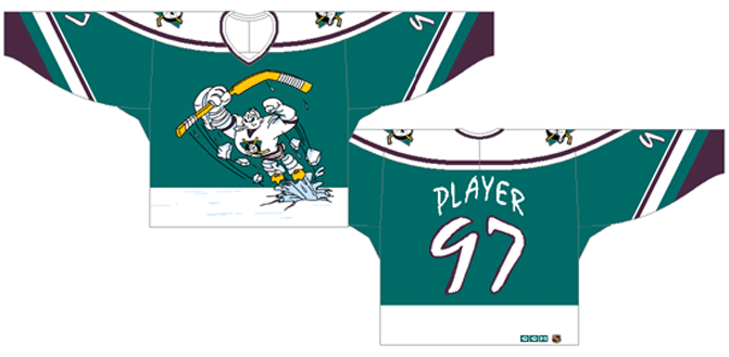 Mighty Ducks of Anaheim Uniform Alternate Uniform (1995/96) - Green uniform with white shoulders, 'Wild Wing' on chest SportsLogos.Net