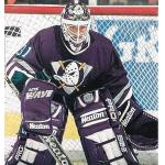 Mighty Ducks of Anaheim (1994) Guy Hebert wearing Mighty Ducks of Anaheim eggplant road uniform during their inaugural 1993-94 season