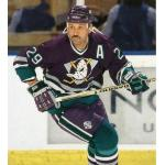 Mighty Ducks of Anaheim (1994) Randy Ladouceur wearing Mighty Ducks of Anaheim eggplant (purple) road uniform during 1993-94 inaugural season