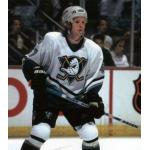 Mighty Ducks of Anaheim (1998) Espen Knutsen wearing Mighty Ducks of Anaheim home white uniform during 1997-98 season