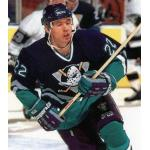 Mighty Ducks of Anaheim (1995) Shaun Van Allen wearing Mighty Ducks of Anaheim road purple uniform during 1994-1995 season