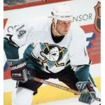 Mighty Ducks of Anaheim (1996) David Sacco wearing Mighty Ducks of Anaheim home white uniform during 1995-96 season