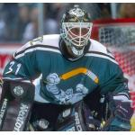 Mighty Ducks of Anaheim (1996) Guy Hebert wearing Mighty Ducks of Anaheim alternate uniform during 1995-96 season