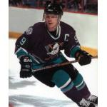 Mighty Ducks of Anaheim (1999) Paul Kariya wearing Mighty Ducks of Anaheim road purple uniform during 1998-99 season
