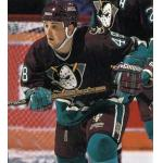 Mighty Ducks of Anaheim (1994) John Lilley wearing Mighty Ducks of Anaheim road purple uniform with Frank Wells memorial Mickey Mouse style patch on shoulder during 1993-94 season