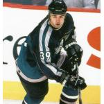 Mighty Ducks of Anaheim (1998) Travis Green wearing Mighty Ducks of Anaheim alternate green uniform during 1997-98 season