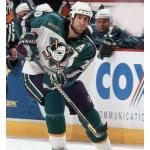Mighty Ducks of Anaheim (2000) Steve Rucchin wearing Mighty Ducks of Anaheim alternate white uniform with NHL 2000 patch during 1999-2000 season