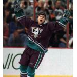 Mighty Ducks of Anaheim (2001) Mike Leclerc wearing Mighty Ducks of Anaheim road purple uniform during 2000-01 season