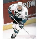 Mighty Ducks of Anaheim (2003) Steve Thomas wearing Mighty Ducks of Anaheim home white uniform during 2002-03 season