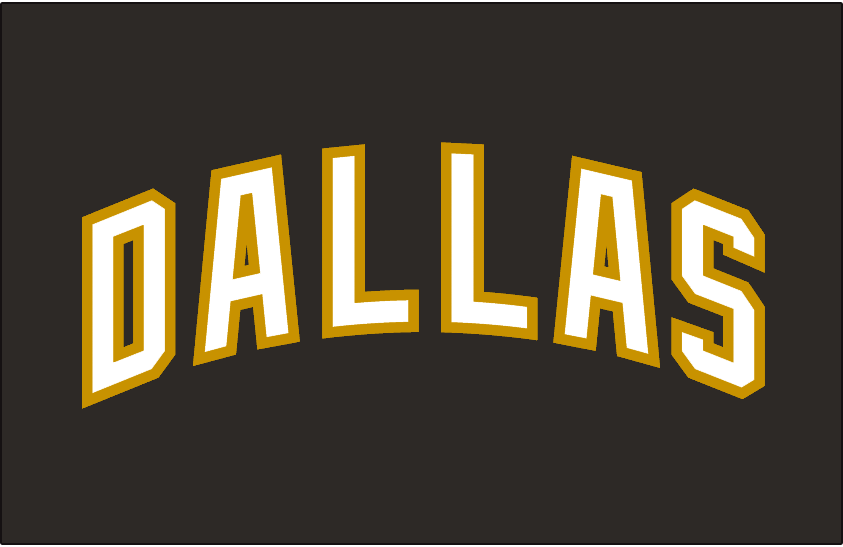 Dallas Stars Logo Jersey Logo (2007/08-2012/13) - Dallas in white with gold outline, on black. Worn above player number on front of Dallas Stars home black jersey from 2007-08 through 2012-13 SportsLogos.Net