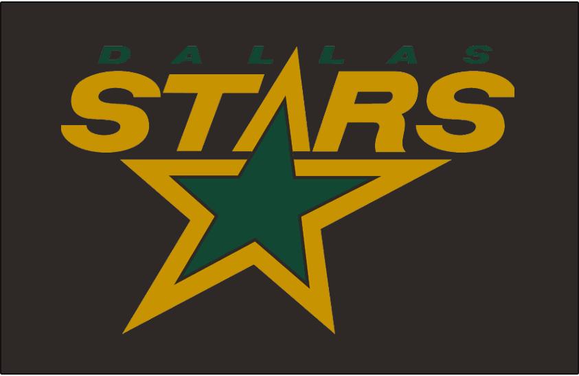 Dallas Stars Logo Jersey Logo (1994/95-1998/99) - STARS in gold with green star, DALLAS above in green on black. Worn on Dallas Stars black jersey from 1994-95 through 1998-99 SportsLogos.Net
