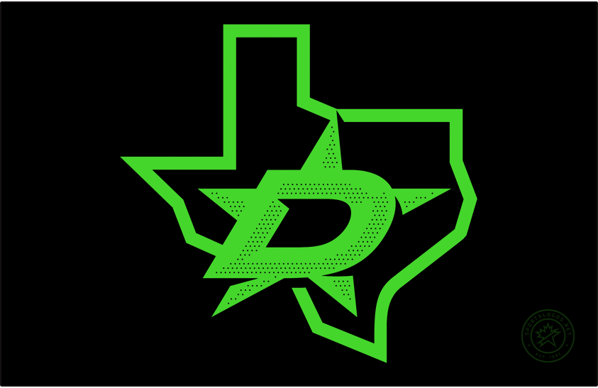 Dallas Stars Logo Jersey Logo (2020/21-Pres) - Worn on the Stars alternate uniform, this logo features their secondary logo of a D on the state map of Texas shown in only two colours - black and neon green. SportsLogos.Net