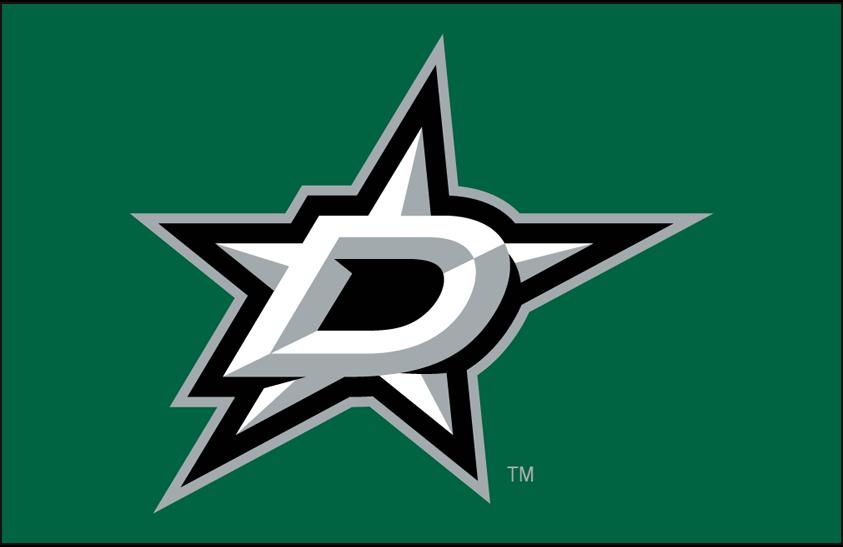 Dallas Stars Logo Primary Dark Logo (2013/14-Pres) - Dallas Stars primary logo on green SportsLogos.Net