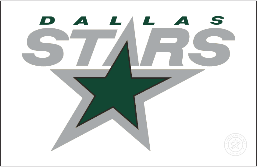 Dallas Stars Logo Jersey Logo (2020/21-Pres) - The Dallas Stars Reverse Retro logo, a throwback to the 1999 season with their logo of the era recoloured in their modern colours, STARS italicized in silver with the A forming the top of a large green star. Worn on a white jersey. SportsLogos.Net