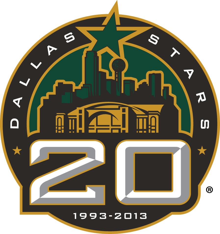 Dallas Stars Logo Anniversary Logo (2012/13) - Dallas Stars 20th anniversary logo SportsLogos.Net