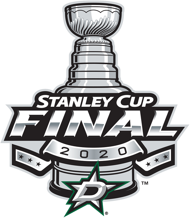 Dallas Stars Logo Event Logo (2019/20) - To celebrate their 2020 Western Conference championship and subsequent appearance in the 2020 Stanley Cup Final, the NHL released this Dallas Stars branded version of their usual Stanley Cup Final logo dated 2020. It follows the usual template used by the league since 2013 showing the Cup with a banner of six stars across it, the Dallas Stars primary logo below. SportsLogos.Net