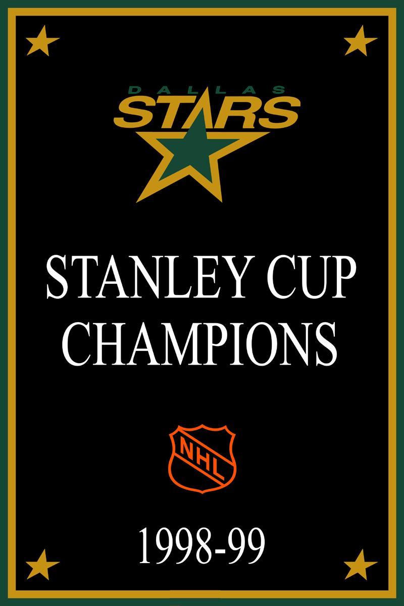 Dallas Stars Championship Banner Championship Banner (1998/99) - Dallas Stars 1999 Stanley Cup Champions Banner SportsLogos.Net