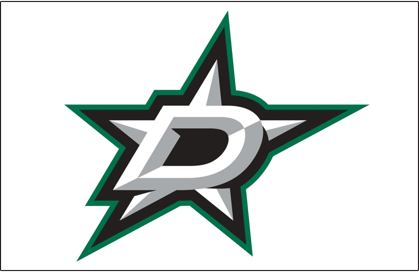 Dallas Stars Logo Jersey Logo (2013/14-Pres) - White and silver D with a star outlined in black and green on white. Worn on Dallas Stars road white jersey starting in 2013-14 season SportsLogos.Net