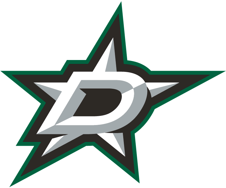 Dallas Stars Logo Primary Logo (2013/14-Pres) - A silver, bevelled star with a silver and black D, outlined in green and silver SportsLogos.Net