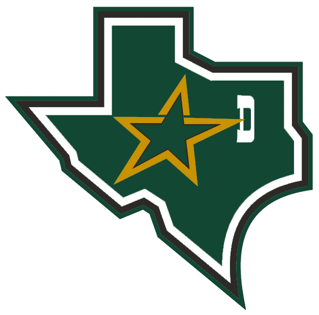 Dallas Stars Logo Alternate Logo (1999/00-2012/13) - A green state of Texas with a star and a D SportsLogos.Net