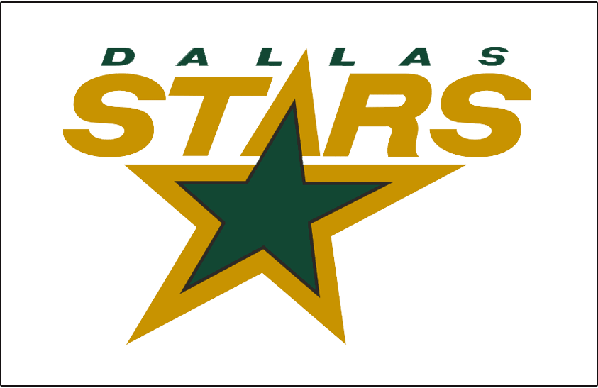 Dallas Stars Logo Jersey Logo (1994/95-2010/11) - STARS in gold with green star, DALLAS above in green on white. Worn on Dallas Stars white jersey from 1994-95 through 2010-11 SportsLogos.Net