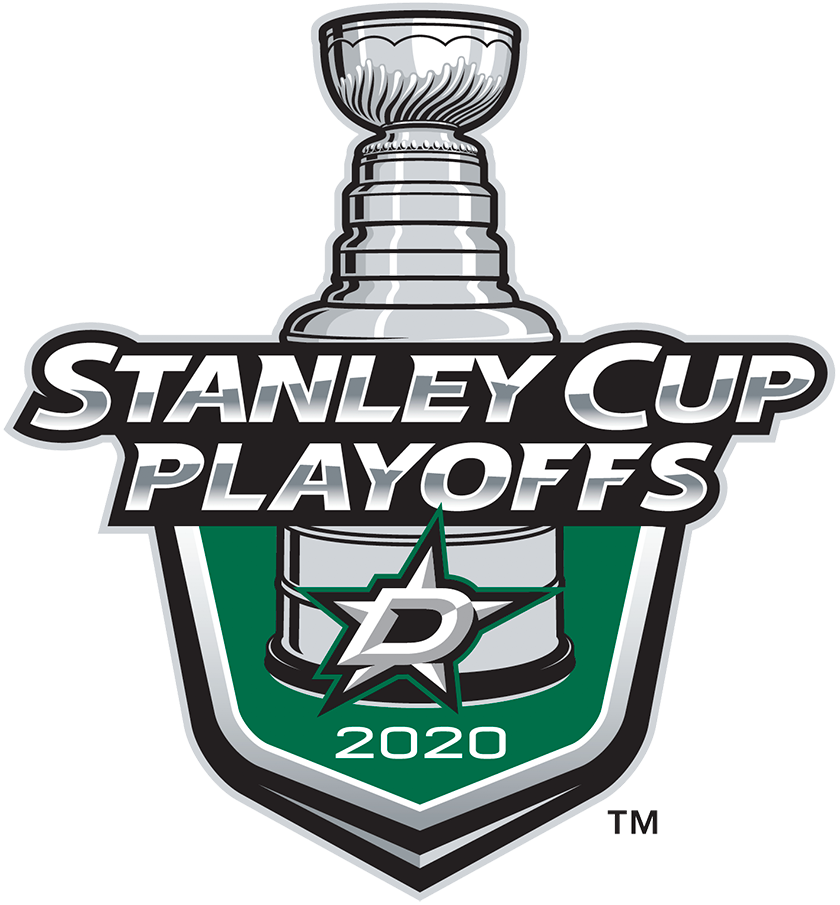 Dallas Stars Logo Event Logo (2019/20) - The Dallas Stars 2020 Stanley Cup Playoffs logo features the Stars primary logo of a silver star with a D on a green shield with STANLEY CUP PLAYOFFS written above in silver and 2020 below in white. A depiction of the top-half of the Stanley Cup can be seen above the shield. This logo is used by the Dalls Stars on various materials throughout their participation in the 2020 NHL Stanley Cup Playoffs. SportsLogos.Net
