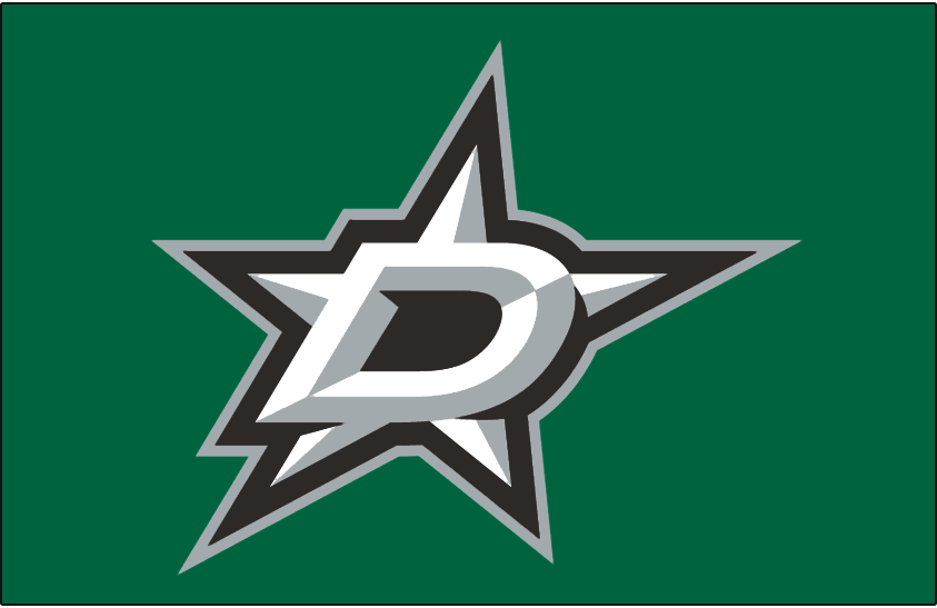Dallas Stars Logo Jersey Logo (2013/14-Pres) - White and silver D with a star outlined in black and silver on green. Worn on Dallas Stars home green jersey starting in 2013-14 season SportsLogos.Net