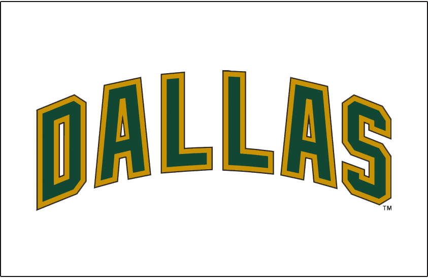 Dallas Stars Logo Jersey Logo (2008/09-2012/13) - Dallas in green with gold outline, worn above player number on Stars alternate jersey from 2008-09 through 2010-11 and then on their road white jersey in 2011-12 and 2012-13. SportsLogos.Net