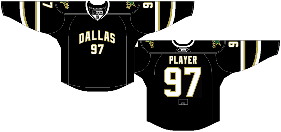 Dallas Stars Uniform Dark Uniform (2007/08-2012/13) - Black jersey with Dallas arched across the front with player number SportsLogos.Net