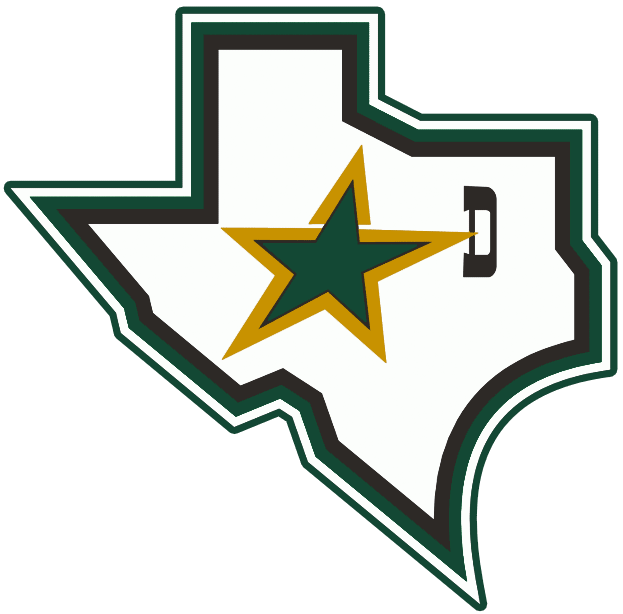 Dallas Stars Logo Alternate Logo (1997/98-2006/07) - A white state of Texas with a star and a D outlined in green SportsLogos.Net
