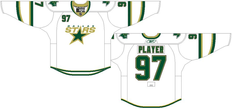 Dallas Stars Uniform Light Uniform (2007/08-2010/11) - White uniform with green stripes, Stars logo on chest SportsLogos.Net