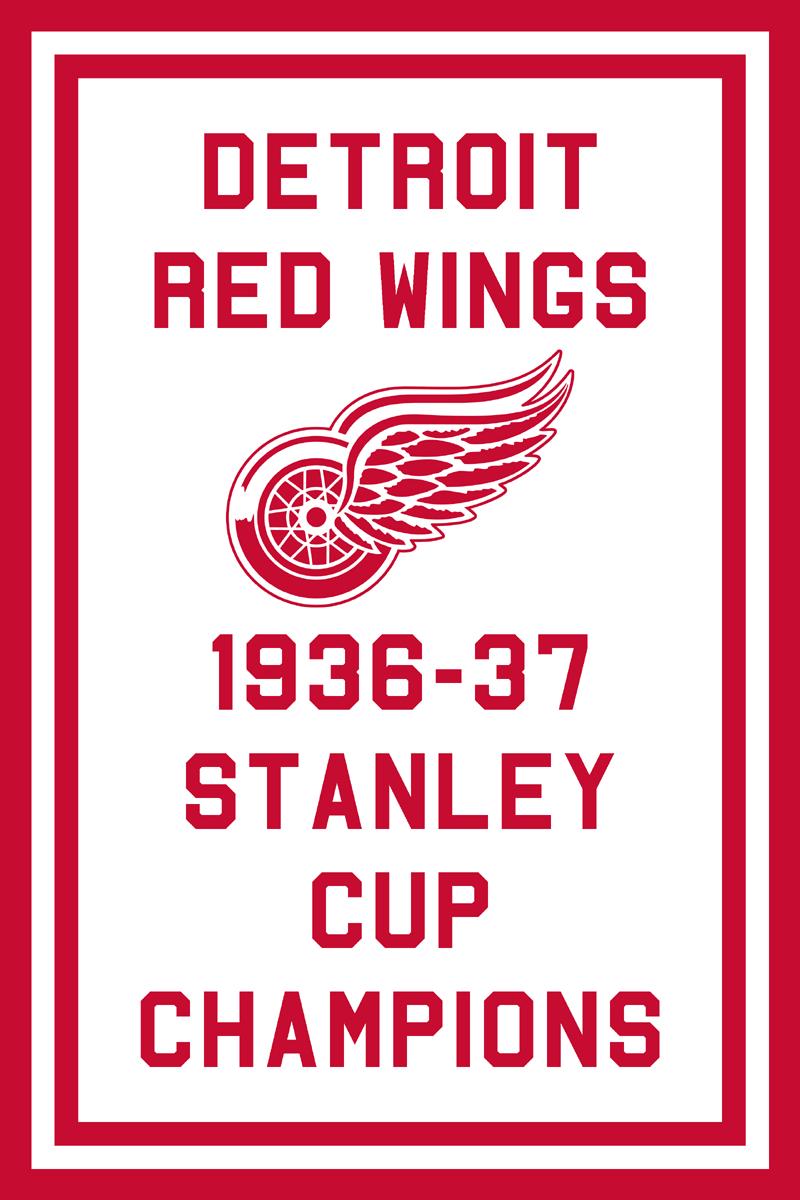 Detroit Red Wings Championship Banner Championship Banner (1936/37) - Detroit Red Wings 1937 Stanley Cup Champions Banner SportsLogos.Net