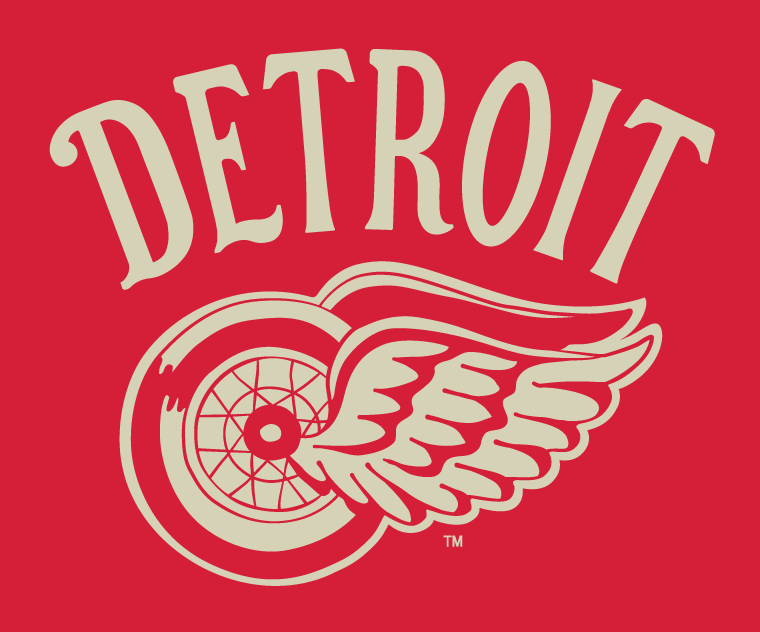 Detroit Red Wings Logo Special Event Logo (2013/14) - Detroit Red Wings 2014 Winter Classic vintage style fauxback jersey crest and promotional logo SportsLogos.Net