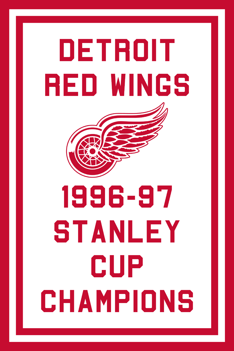 Detroit Red Wings Championship Banner Championship Banner (1996/97) - Detroit Red Wings 1997 Stanley Cup Champions Banner SportsLogos.Net