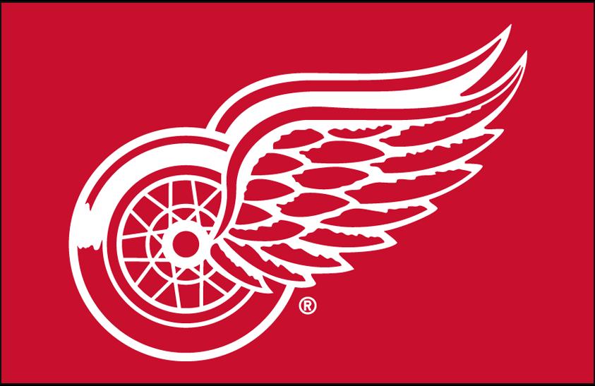 Detroit Red Wings Logo Primary Dark Logo (1983/84-Pres) - Detroit Red Wings primary logo on red SportsLogos.Net