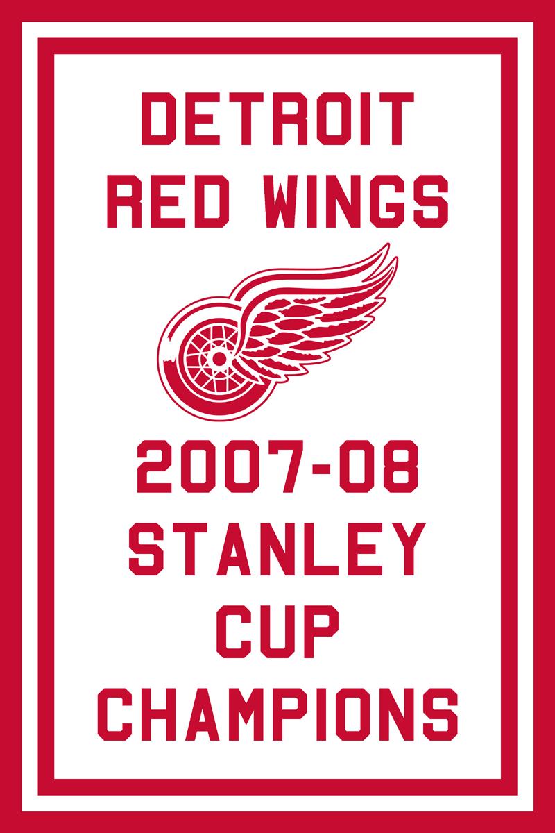 Detroit Red Wings Championship Banner Championship Banner (2007/08) - Detroit Red Wings 2008 Stanley Cup Champions Banner SportsLogos.Net