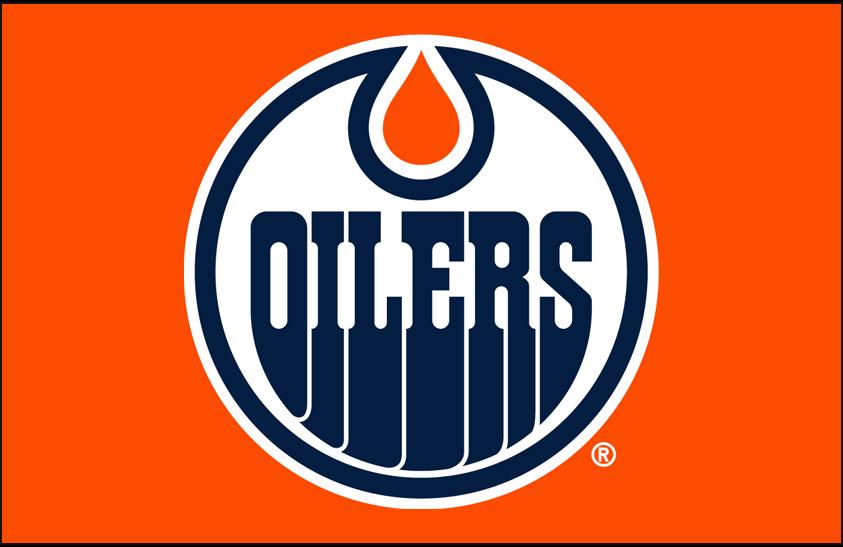 Edmonton Oilers Logo Primary Dark Logo (2017/18-Pres) - Edmonton Oilers primary logo on orange SportsLogos.Net