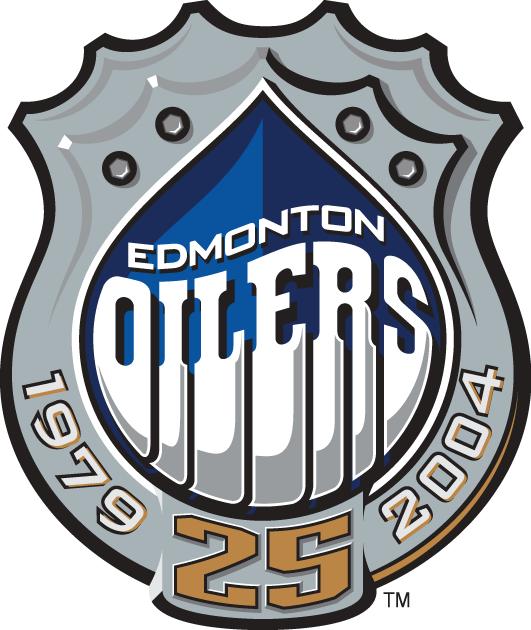 Edmonton Oilers Logo Anniversary Logo (2003/04) - Edmonton Oilers 25th Anniversary SportsLogos.Net