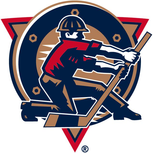 Edmonton Oilers Logo Alternate Logo (1996/97-2006/07) - An oil worker pulling a hockey stick lever SportsLogos.Net