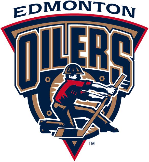 Edmonton Oilers Logo Alternate Logo (1996/97-2006/07) - Oil worker logo with script SportsLogos.Net