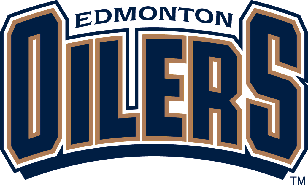 Edmonton Oilers Logo Wordmark Logo (1996/97-2010/11) - Oilers in arched blue block script with Edmonton above SportsLogos.Net