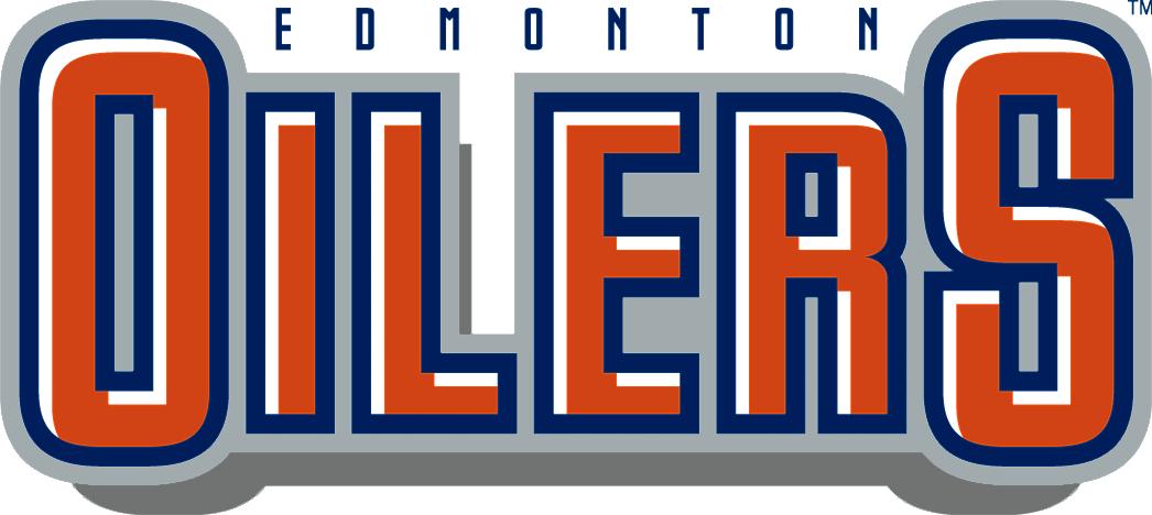 Edmonton Oilers Logo Wordmark Logo (2011/12-2016/17) - OILERS in blue, orange and white with EDMONTON above in blue SportsLogos.Net